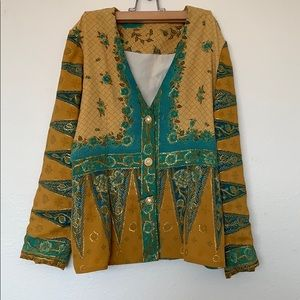 Jackets & Blazers - Vintage statement jacket gold teal intricate